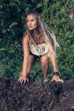 Modelo de forma do estilo da hippie Imagens de Stock Royalty Free