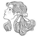 Modelo de forma Hand-drawn. Face da mulher Fotografia de Stock