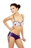 Modelo de forma novo que levanta no swimsuit isolado Fotografia de Stock