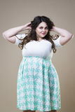 Modelo de forma positivo na roupa ocasional, mulher gorda do tamanho no fundo do estúdio, corpo fêmea excesso de peso foto de stock royalty free