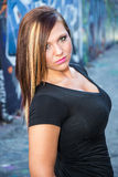Modelo de forma 'sexy' da menina com cabelo marrom Fotografia de Stock