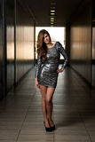 Modelo de forma In Silver Dress Fotografia de Stock