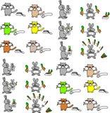Gatos y conejos Fotografía de archivo libre de regalías