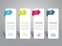 Modelo de Infographic puede ser utilizado para la disposición del flujo de trabajo, diagrama Imagen de archivo libre de regalías