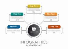 Modelo de Infographic puede ser utilizado para la disposición del flujo de trabajo, diagrama Foto de archivo libre de regalías