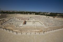 Modelo de Jerusalén antigua, nueva ciudad en fondo Imagen de archivo