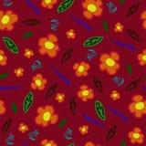 modelo de la abstracción con las flores en el fondo rojo stock de ilustración