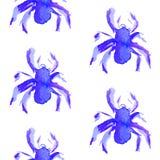 Modelo de la acuarela de la araña púrpura azul a Halloween imagen de archivo