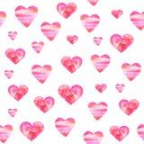 Modelo de la acuarela con los corazones Fondo hecho a mano rom?ntico de la acuarela para la impresi?n de la tela Pintado a mano stock de ilustración