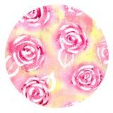 Modelo de la acuarela de rosas coloridas Fotografía de archivo libre de regalías