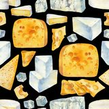 Modelo de la acuarela de diversos tipos de queso Libre Illustration