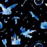 Modelo de la acuarela de los elementos azules por un día de fiesta de Halloween en un fondo negro Foto de archivo libre de regalías