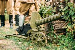 Modelo 1910 30 de la ametralladora del ` s de la máxima en un ` rodado s Moun de Vladimirov Imagen de archivo libre de regalías