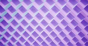 modelo de la animación de la representación 3D geométrico en textura de la arquitectura en forma de la caja del cubo con la luz y metrajes