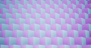 modelo de la animación de la representación 3D geométrico en textura de la arquitectura en forma de la caja del cubo con la luz y almacen de video