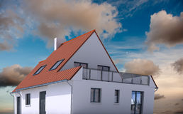 Modelo de la arquitectura en el fondo real a stock de ilustración