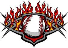 Modelo de la bola del beísbol con pelota blanda del béisbol con las llamas Imagenes de archivo
