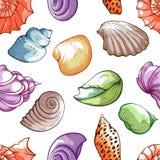 Modelo de la cáscara del mar, decoración brillante y viaje stock de ilustración