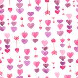 Modelo de la cadena de corazones y de flechas Fondo inconsútil para su diseño La textura romántica en colores en colores pastel d stock de ilustración