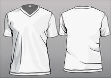 Modelo de la camiseta con el V-cuello stock de ilustración