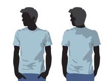Modelo de la camiseta de los hombres con la silueta del cuerpo humano Imagen de archivo libre de regalías