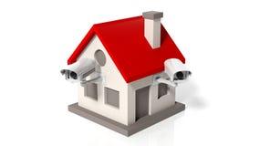 Modelo de la casa con las cámaras de vigilancia Imagen de archivo