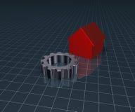 Modelo de la casa y rueda de engranaje Imagen de archivo libre de regalías