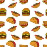 Modelo de la comida rápida Ilustración drenada mano Ejemplo brillante de la historieta para el diseño, la tela y el papel pintado ilustración del vector