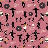 Modelo de la danza del oscilación Bailarines y músicos Estilo retro Imagenes de archivo