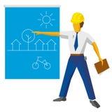 Modelo de la demostración del constructor del ingeniero con proyecto ecológico stock de ilustración