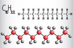 Modelo de la fórmula química y de la molécula del decano C10H22 ilustración del vector