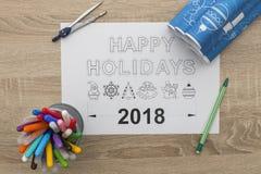 Modelo de la Feliz Año Nuevo 2018 Fotografía de archivo