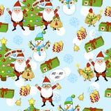 Modelo de la Feliz Año Nuevo con Santa Claus, el árbol de navidad, los regalos, la campana, las estrellas, el gallo, el gallo y e Imágenes de archivo libres de regalías