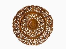 Modelo de la flor tallado en el fondo de madera del aislante Fotografía de archivo libre de regalías