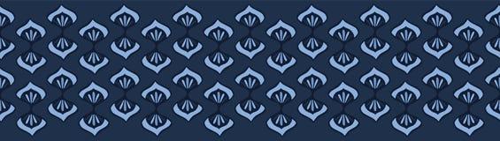 Modelo de la frontera del damasco de la flor del tinte de los azules añiles Repetición inconsútil stock de ilustración