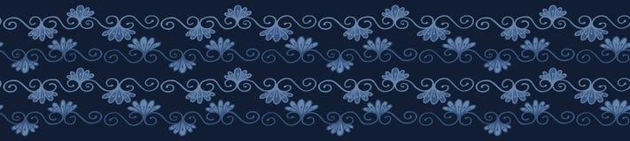 Modelo de la frontera del damasco de la flor del tinte de los azules añiles La repetición inconsútil prospera la voluta ilustración del vector