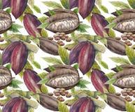 Modelo de la fruta del cacao de la acuarela stock de ilustración
