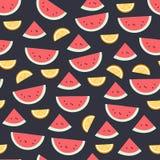 Modelo de la fruta de la sandía en oscuridad Fondo inconsútil de la fruta cítrica hermosa brillante Ejemplo del vector en plano Imagenes de archivo