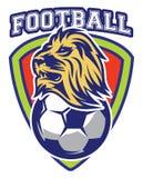 Modelo de la insignia del deporte para el equipo con el león y la bola Fotografía de archivo libre de regalías