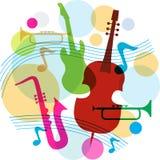 Modelo de la música con las notas, la guitarra y el saxofón Imagen de archivo