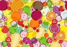 Modelo de la mezcla de la fruta en el fondo blanco stock de ilustración
