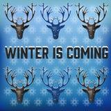 Modelo de la Navidad con los ciervos y los copos de nieve en un fondo azul Ilustración del vector Fotografía de archivo libre de regalías