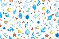 Modelo de la Navidad con los elementos de la acuarela imágenes de archivo libres de regalías