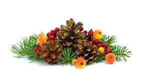 Modelo de la Navidad con los elementos naturales Aislado Bayas y f Imagen de archivo
