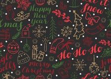 Modelo de la Navidad de SSeamless con las inscripciones y los garabatos libre illustration