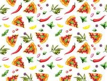 Modelo de la pizza en blanco stock de ilustración