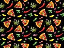 Modelo de la pizza en fondo negro stock de ilustración