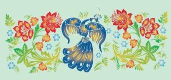 Modelo de la raya de la flor y del pájaro libre illustration