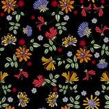 Modelo de la repetición del bordado con las flores del prado libre illustration