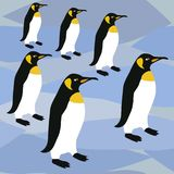 Modelo de la superficie de los pingüinos, pingüinos de emperador del modelo de rey Penguins Winter Repeat para el diseño de la ma libre illustration